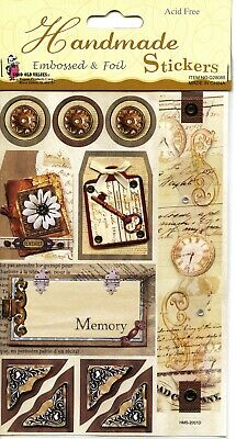 Lot of 5 - Scrapbook Handmade Stickers - Multiple Themes - Vintage Style- NEW