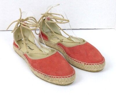 Free People Suede Marina Espadrille Lace Up Coral Womens Sz 41 EU 11 US $88