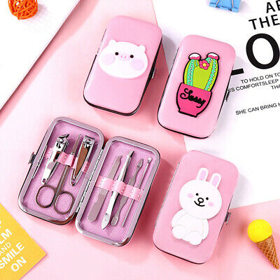 7pcs Nail Care Pedicure Manicure Set Stainless Steel Cuticle Clippers Tool Case