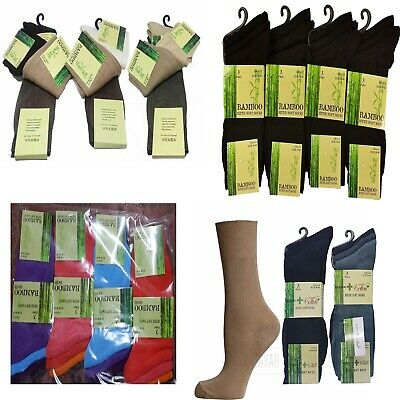 New Mens Bright Colour BAMBOO Socks Pack of 3,12 Pairs Elastic Gentle Soft Grip