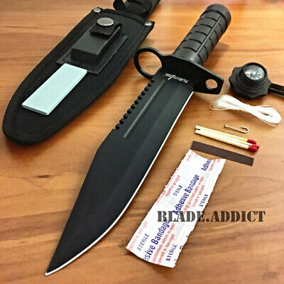 "12"" Tactical Hunting Rambo Combat Fixed Blade Knife Machete Bowie Survival Kit-T"