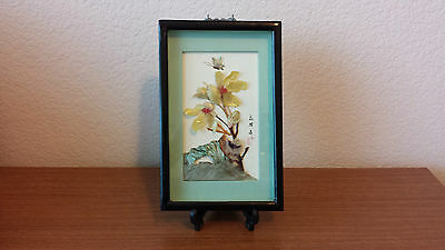 Vintage Post Wwii Hand Crafted And Painted Seashell Japanese Art Plaque Mint