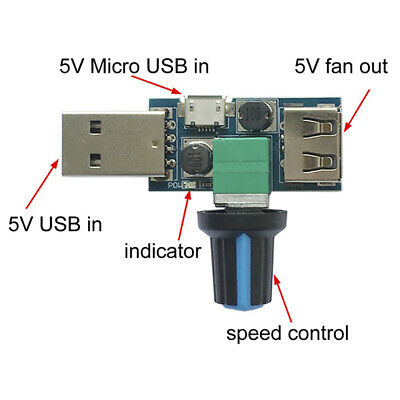 USB Fan Speed Controller DC 4V-12V 5W Multi-Gear Mute Auxiliary Cooling Tool fq