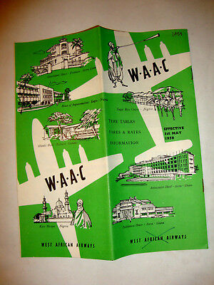 W.a.a.c West African Airways Timetable 1958.