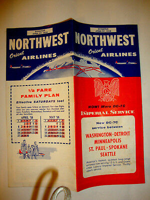 Northwest Orient Airlines Timetable 1958.
