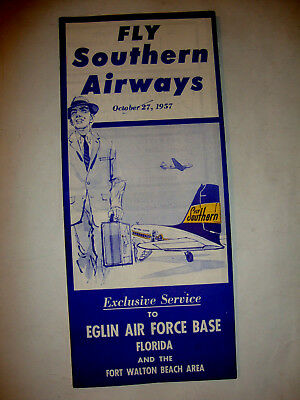 Fly Southern Airways Timetable 1957.