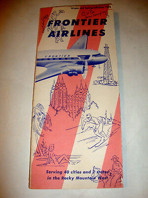 Frontier Airlines Timetable 1955.
