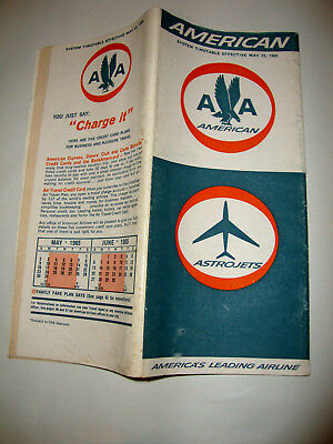 American Airline Usa Timetable 23 May 1965