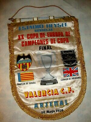 Fanion Wimpel Football Final Coupe D'europe Des Champions Arsenal-Valencia 1980