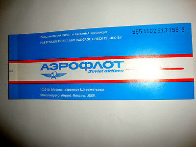 AEROFLOT AIRLINES USSR RUSSIE PASSENGER TICKET AND BAGGAGE CHECK. ancien billet