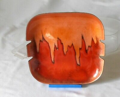 Vintage Mid-Century BOVANO Cheshire CT Orange Red Flame Enameled Copper Ashtray