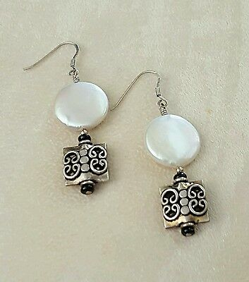 Artisan Earrings Coin Pearls Ornate 925 Sterling  Silver Dangles Handcrafted USA