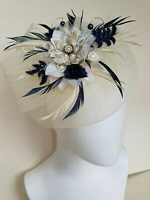 Mother Of The Bride Fascinator,cream & Navy Blue,feathers,hand Made,most colours