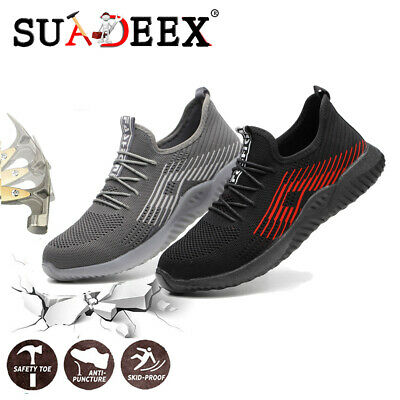 Mens Safety Work Shoes Construction Breathable Lightweight Steel Toe Sneakers