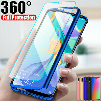 For Huawei Y5 Y6 Y7 Y9 Prime 2019 360° Protect Hybrid Case+Tempered Glass Cover