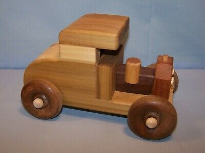 """OOAK Handmade Handcrafted Wooden Toy Car MODEL T Type 8"""" X 5"""" X 5"""" Natural Wood"""