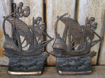 Antique Bron Met Gift House 1926 Ship Bookends Weathered Iron Nautical PATINA