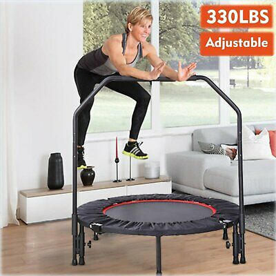 """40"""" Trampoline With Adjustable Handrail Bouncing Workout Exercise Mini Rebounder"""