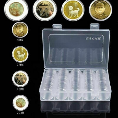 UK 200X 30mm Coin Cases Capsules Holder Applied Clear Plastic Round Storage Box