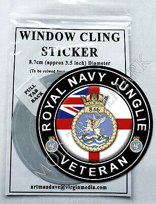 ROYAL NAVY JUNGLIE (846 SQN) - VETERAN, WINDOW CLING STICKER  8.7cm Diameter