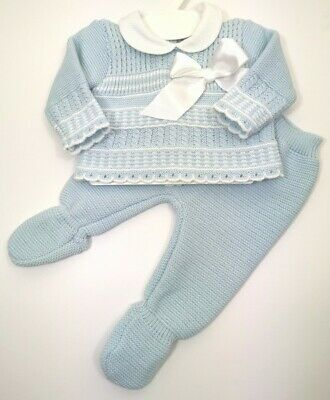 Baby Boys Clothes Knitted Spanish Romany Style Suit blue set   0-3 3-6 months