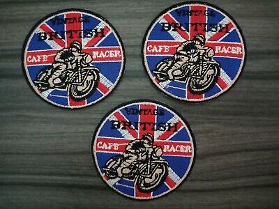 3 pcs Vintage CAFE RACING MOTORCYCLES Iron on Patches Embroidered Sewn on Shirt