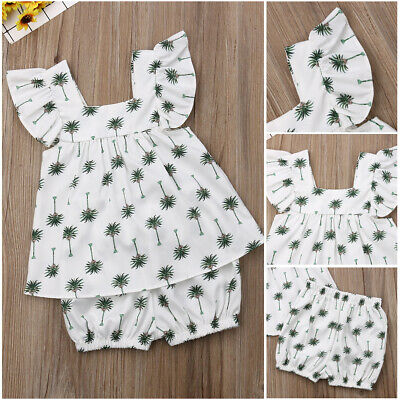 2PCS Toddler Baby Girl Clothes Outfit Set Palm Tree Print Tops+Bottoms Casual UK