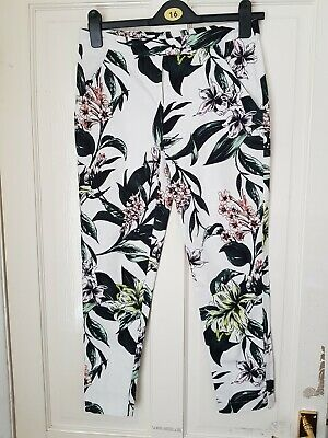 Stunning DOROTHY PERKINS UK 8 SUMMER FLORAL TROUSERS short ankle grazers VGC