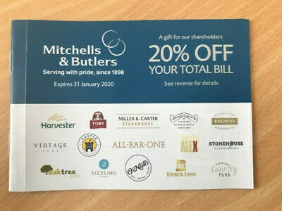 Mitchells & Butlers 20% Off Total Bill!  Pub/Restaurant Discount Voucher-SAVE ££