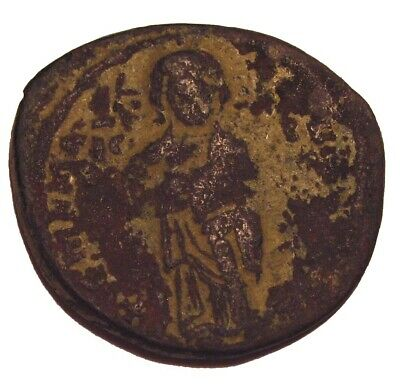 Old Ancient Byzantine Follis Coin Jesus Christ  Anonymous 1000 AD