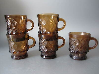 Vintage Fire King Anchor Hocking Kimberly AMBER Visions Brown Diamond 5 Mugs