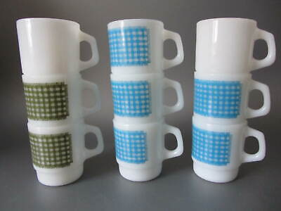 Vintage Fire King Anchor Hocking Set 9 Coffee Mugs Cups 7 Gingham Blue / Green