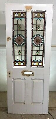 Victorian Stained Glass Front Door Reclaimed Old Period Antique Carved Leaded