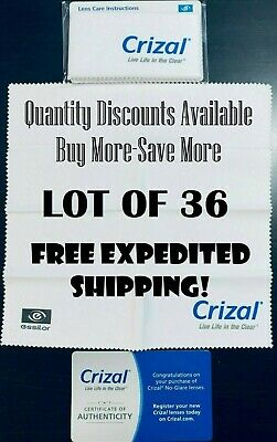 36 CRIZAL FULL SIZED Sealed Microfiber Cleaning Cloth Glasses Phone Lens Camera