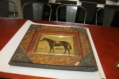 antique frame gesso gold  horse equestrian victorian carving ornate race racing