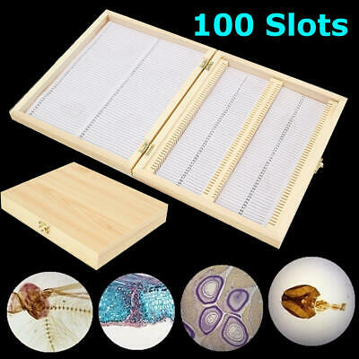 Microscope Slides Storage Wooden Box Slides Case Storage Specimen 100 Slots