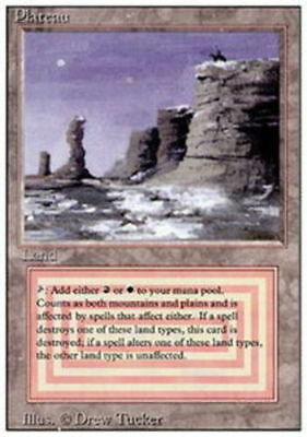 1x MTG Revised Edition Plateau, Heavy Play, English
