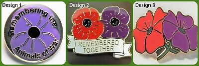 Purple Poppy Badges, Honouring Animals Lost in War - 3 designs available