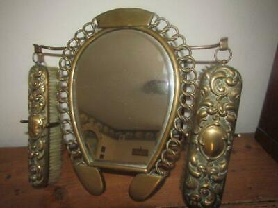 Vintage Quality Brass Horseshoe Mirror Brushes Hall Set