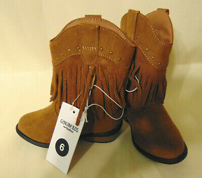 Wonder Nation Toddler Girls/' Pull-on Brown Embroidered Cowboy Boots Shoes 7-11