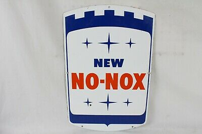 "VINTAGE 1960's GULF NEW NO-NOX PORCELAIN PUMP PLATE SIGN 17.5""x 11.5"" GAS OIL"