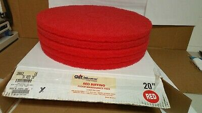 Glit/Microtron Red Buffing Floor Maintenance Pads 5-Pads 20""