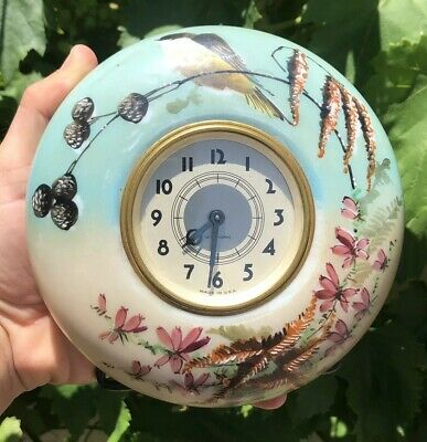 Rare Antique Seth Thomas 8 Day Hand Pained Bird Glass Mantel Desk Round Clock