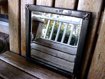 Antique Arts & Crafts Mission Metal Beveled Mirror Patina Vintage Rustic UNUSUAL