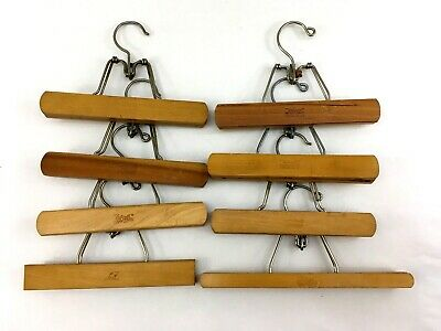 "8 Vtg Setwell Wooden Trousers Pant Clamp Hangers One=13"" others=10""  USA-Made"