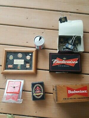 Budweiser Unique Lot - Pin Set, Clock, Dominoes, Cards, Box, Pull Tab Can, Clips