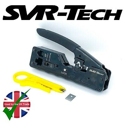 SVR-Tech PRO HD RJ45 Cat 5 6 7 EZ Pass Through Connector Crimping Crimper Tool