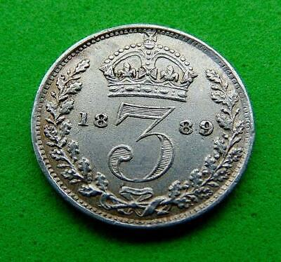 A  SPLENDID  GEF/UNC  VICTORIA  1889  SILVER  THREEPENCE  3d....from  LUCIDO_8