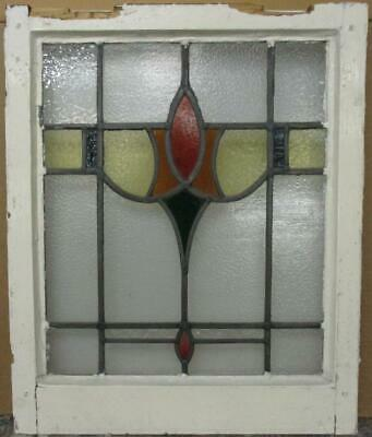 "MIDSIZE OLD ENGLISH LEAD STAINED GLASS WINDOW Stunning Band & Drop 20"" x 24.25"""