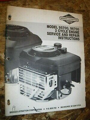 Up To 1988 Briggs & Stratton Model 95700 96700 2 Cycle Engine Repair Manual